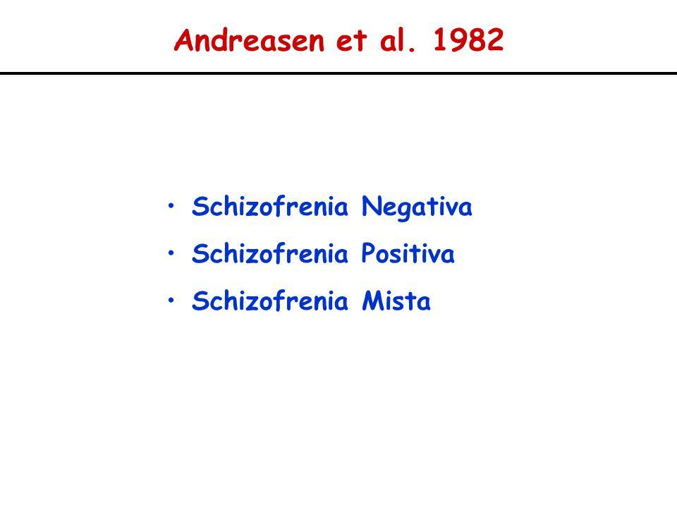 Andreasen et al. 1982 Schizofrenia Negativa Schizofrenia Positiva Schizofrenia Mista