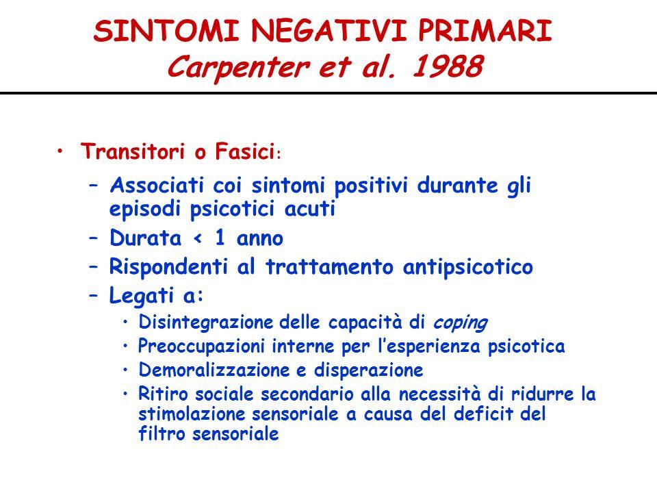 SINTOMI NEGATIVI PRIMARI Carpenter et al. 1988 Transitori o Fasici : –Associati coi sintomi positivi durante gli episodi psicotici acuti –Durata < 1 a
