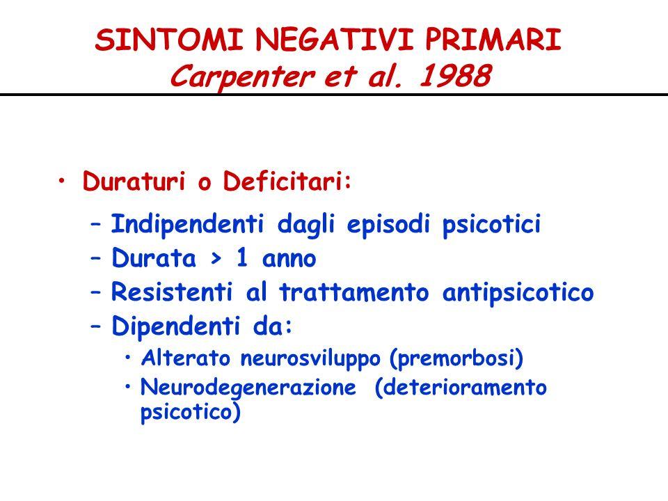 SINTOMI NEGATIVI PRIMARI Carpenter et al. 1988 Duraturi o Deficitari: –Indipendenti dagli episodi psicotici –Durata > 1 anno –Resistenti al trattament