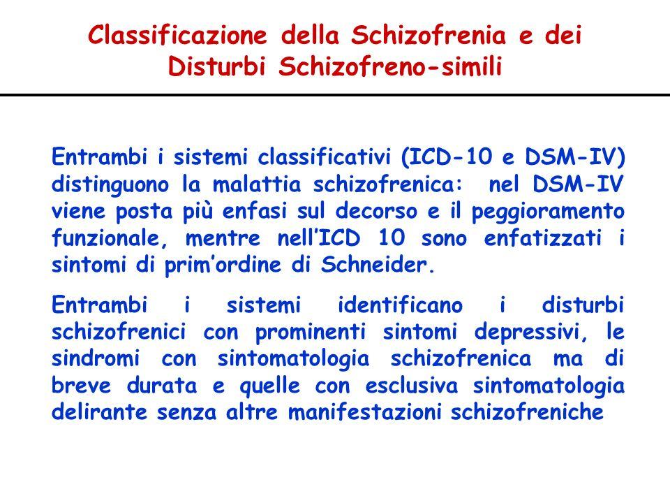 Classificazione della Schizofrenia e dei Disturbi Schizofreno-simili Entrambi i sistemi classificativi (ICD-10 e DSM-IV) distinguono la malattia schiz