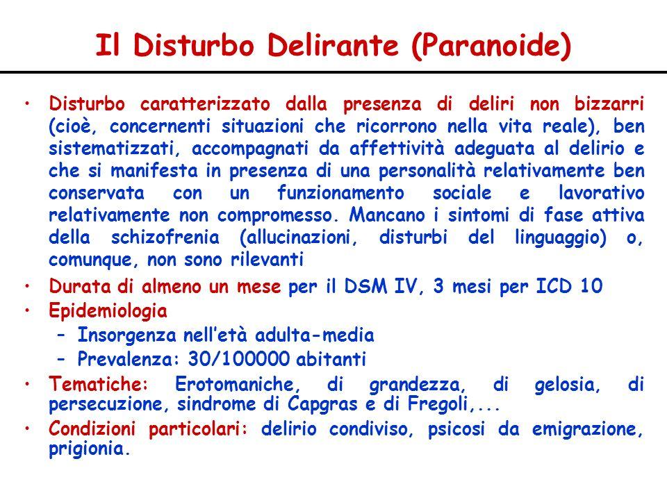 Il Disturbo Delirante (Paranoide) Disturbo caratterizzato dalla presenza di deliri non bizzarri (cioè, concernenti situazioni che ricorrono nella vita