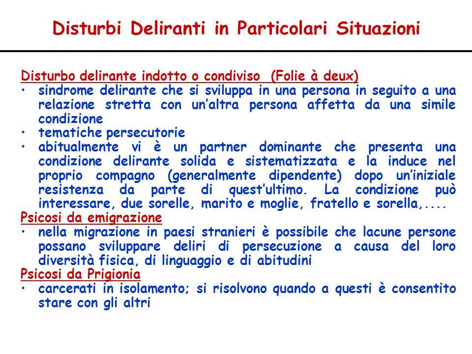 Disturbi Deliranti in Particolari Situazioni Disturbo delirante indotto o condiviso (Folie à deux) sindrome delirante che si sviluppa in una persona i