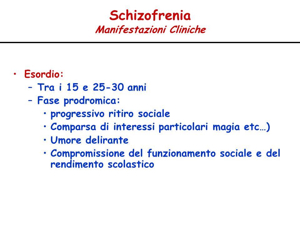 Schizofrenia Manifestazioni Cliniche Esordio: –Tra i 15 e 25-30 anni –Fase prodromica: progressivo ritiro sociale Comparsa di interessi particolari ma