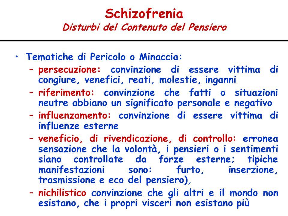 Schizofrenia Disturbi del Contenuto del Pensiero Tematiche di Pericolo o Minaccia: –persecuzione: convinzione di essere vittima di congiure, venefici,
