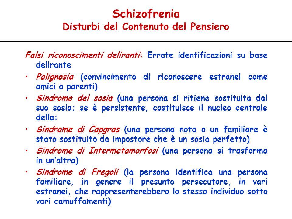 Schizofrenia Disturbi del Contenuto del Pensiero Falsi riconoscimenti deliranti: Errate identificazioni su base delirante Palignosia (convincimento di
