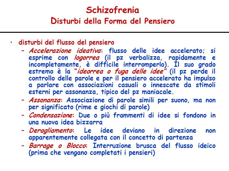 Schizofrenia D isturbi della Forma del Pensiero disturbi del flusso del pensiero –Accelerazione ideativa: flusso delle idee accelerato; si esprime con