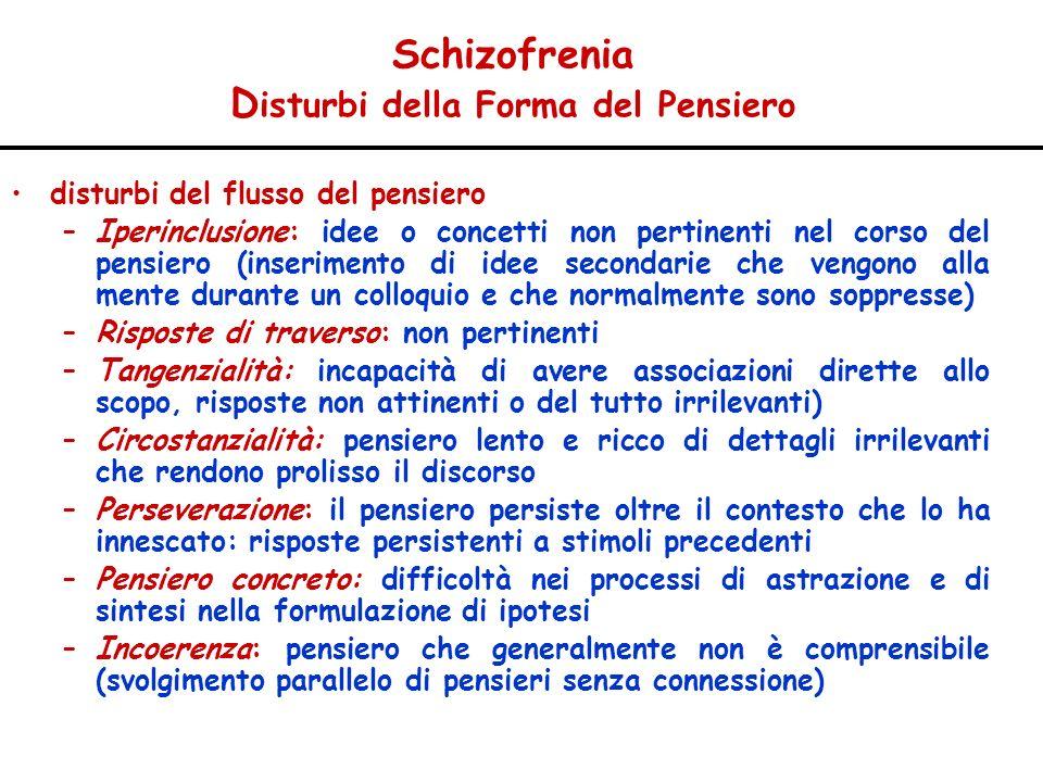 Schizofrenia D isturbi della Forma del Pensiero disturbi del flusso del pensiero –Iperinclusione: idee o concetti non pertinenti nel corso del pensier