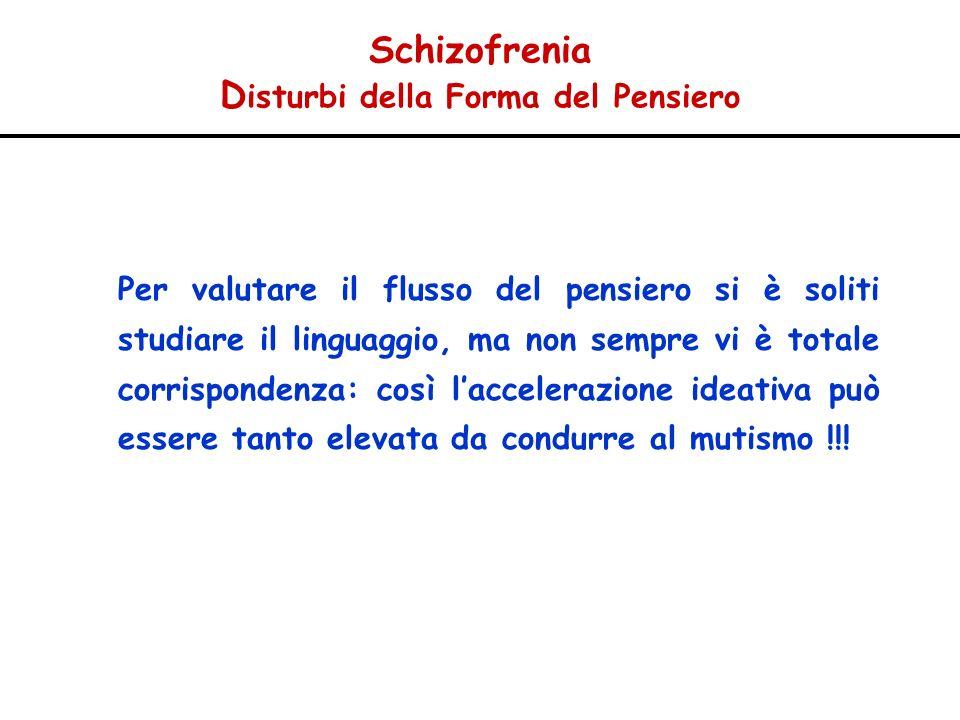 Schizofrenia D isturbi della Forma del Pensiero Per valutare il flusso del pensiero si è soliti studiare il linguaggio, ma non sempre vi è totale corr