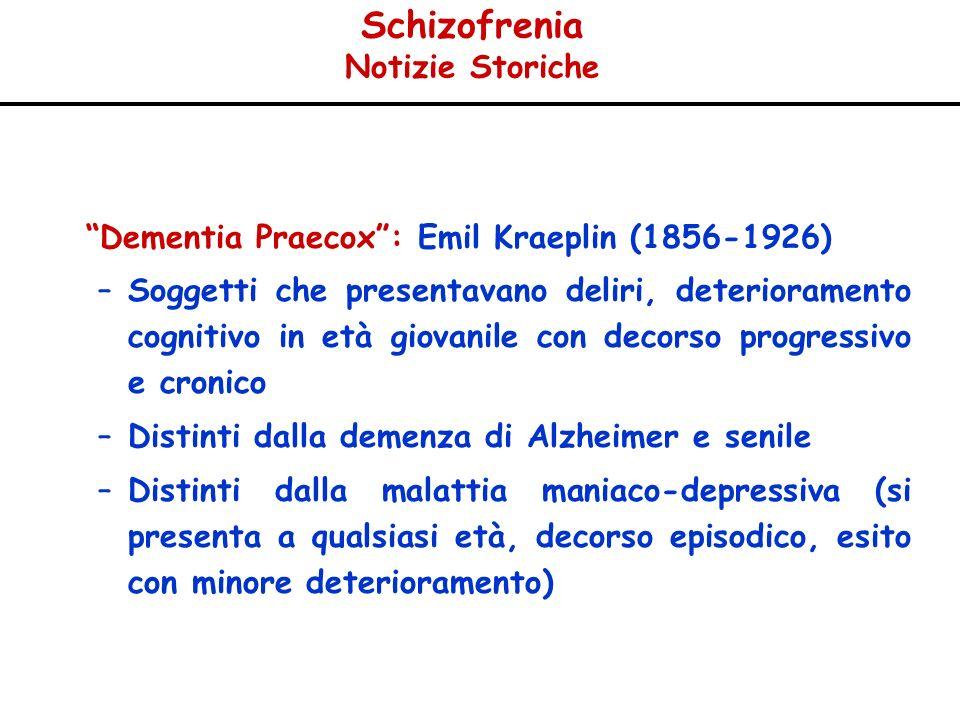 Schizofrenia Notizie Storiche Dementia Praecox: Emil Kraeplin (1856-1926) –Soggetti che presentavano deliri, deterioramento cognitivo in età giovanile