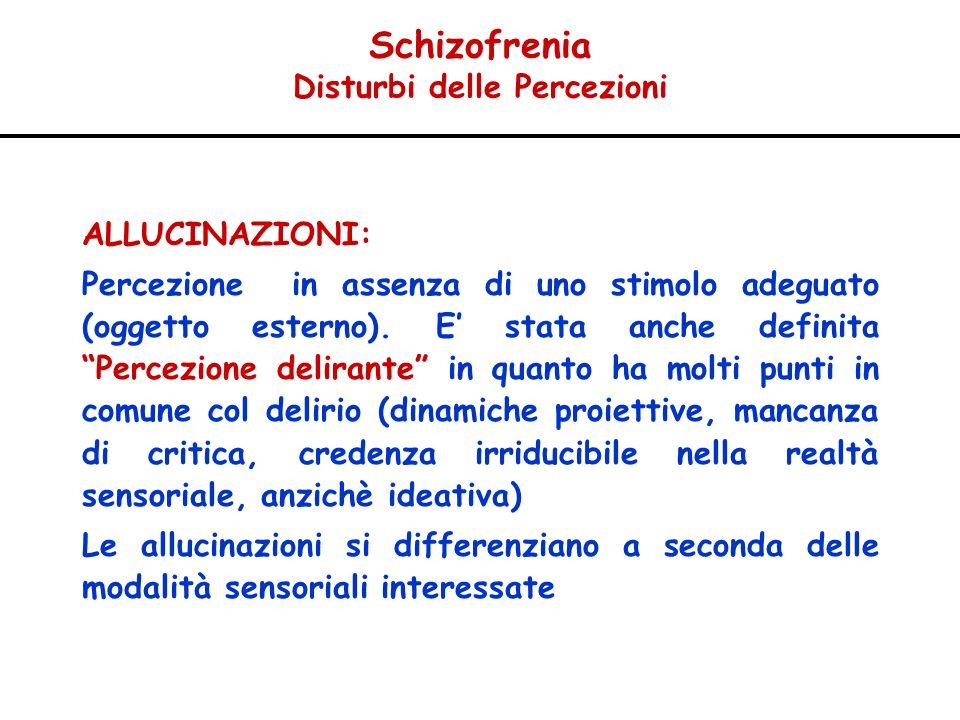 Schizofrenia Disturbi delle Percezioni ALLUCINAZIONI: Percezione in assenza di uno stimolo adeguato (oggetto esterno). E stata anche definita Percezio