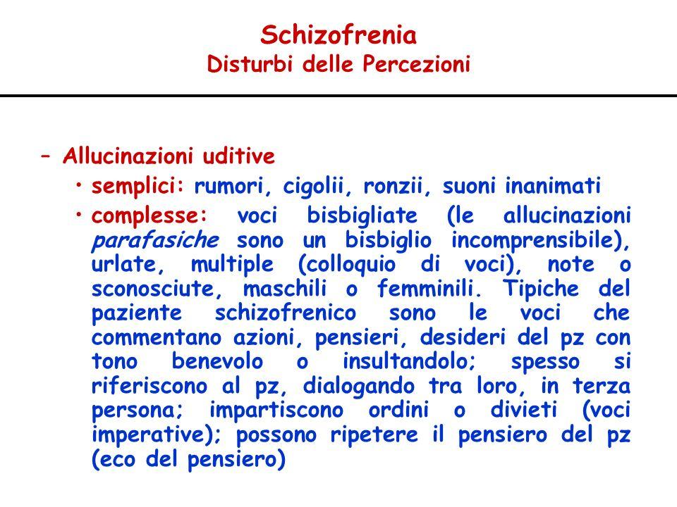 Schizofrenia Disturbi delle Percezioni –Allucinazioni uditive semplici: rumori, cigolii, ronzii, suoni inanimati complesse: voci bisbigliate (le alluc