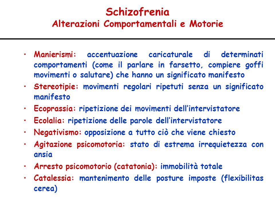 Schizofrenia Alterazioni Comportamentali e Motorie Manierismi: accentuazione caricaturale di determinati comportamenti (come il parlare in farsetto, c