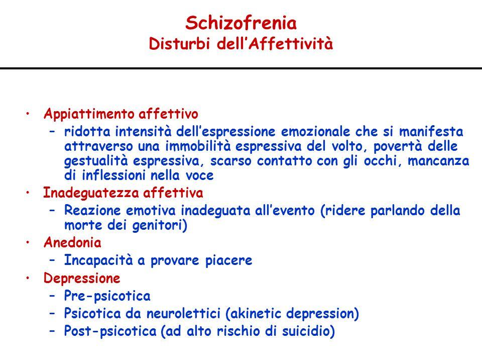 Schizofrenia Disturbi dellAffettività Appiattimento affettivo –ridotta intensità dellespressione emozionale che si manifesta attraverso una immobilità