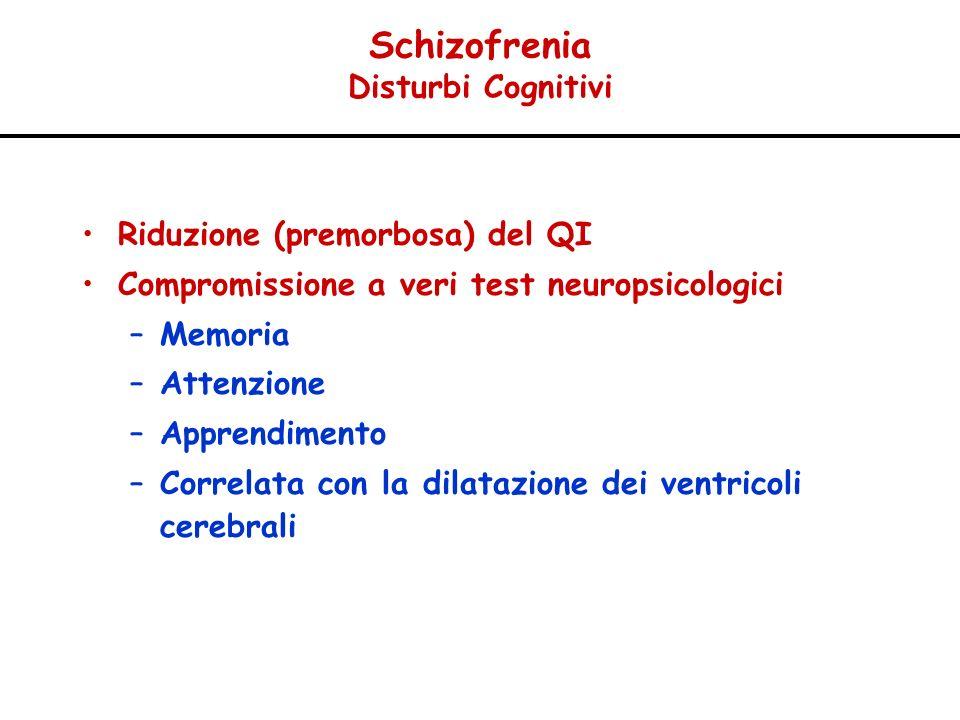 Schizofrenia Disturbi Cognitivi Riduzione (premorbosa) del QI Compromissione a veri test neuropsicologici –Memoria –Attenzione –Apprendimento –Correla