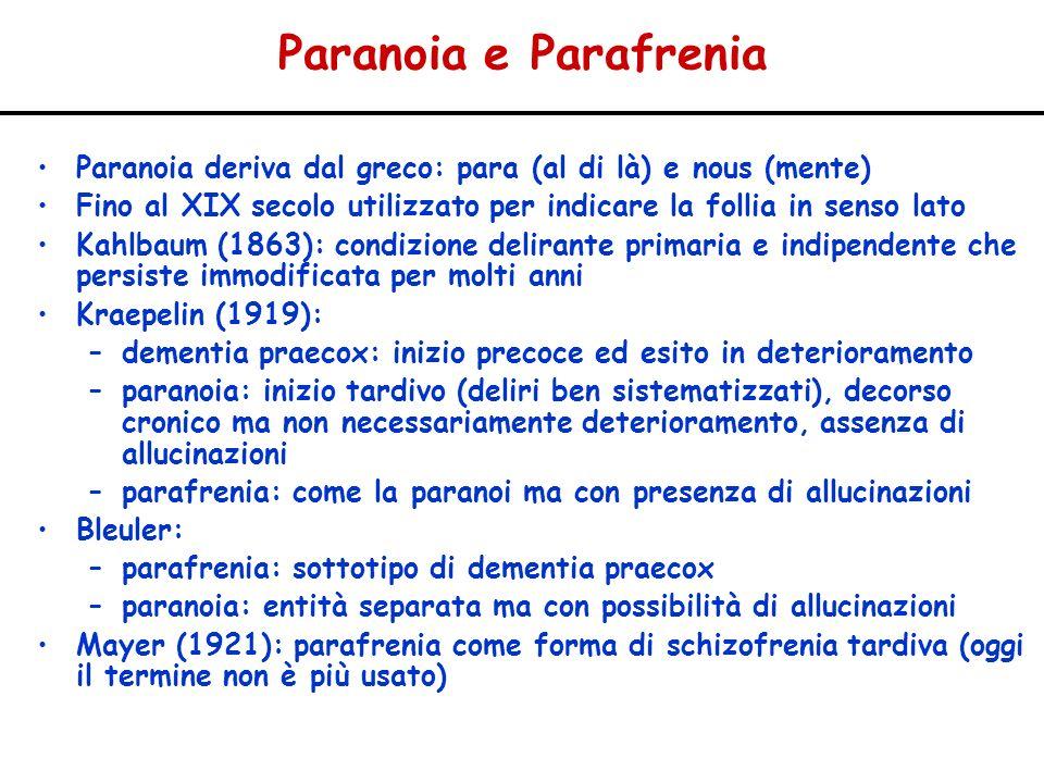 Paranoia e Parafrenia Paranoia deriva dal greco: para (al di là) e nous (mente) Fino al XIX secolo utilizzato per indicare la follia in senso lato Kah