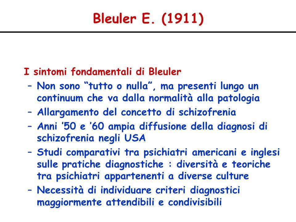 Bleuler E. (1911) I sintomi fondamentali di Bleuler –Non sono tutto o nulla, ma presenti lungo un continuum che va dalla normalità alla patologia –All