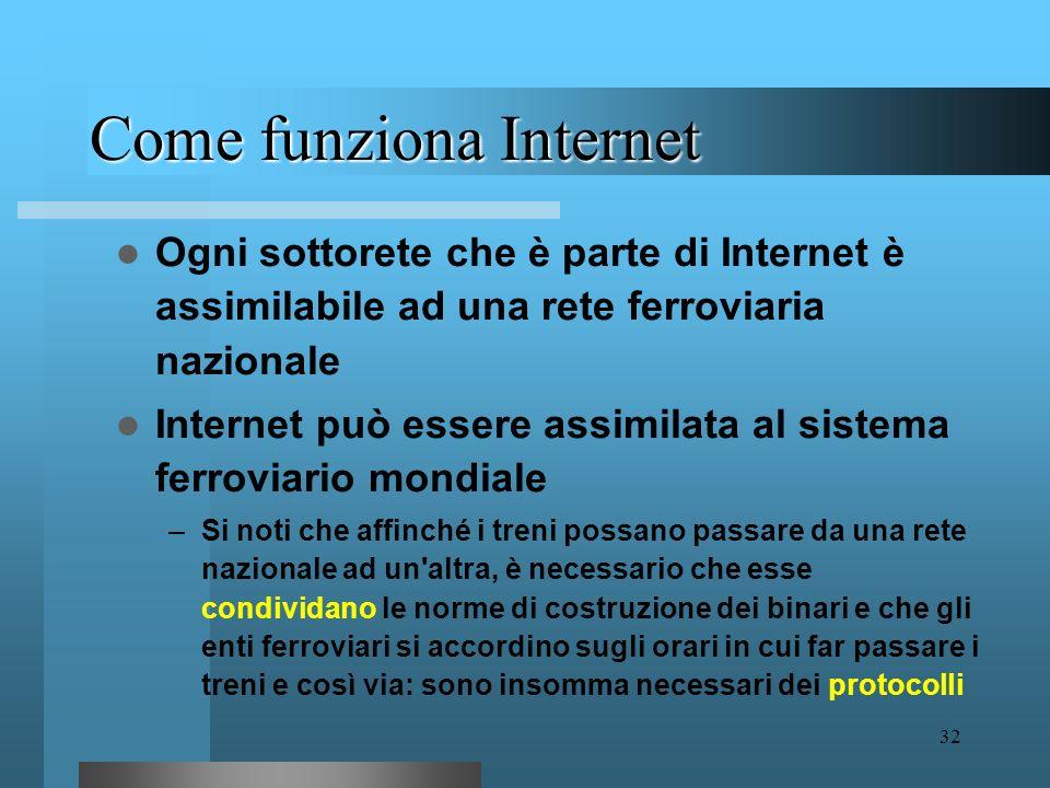 31 Come funziona Internet Abbiamo detto che Internet è una rete di reti telematiche Per capire meglio che cosa si intende con questa affermazione util