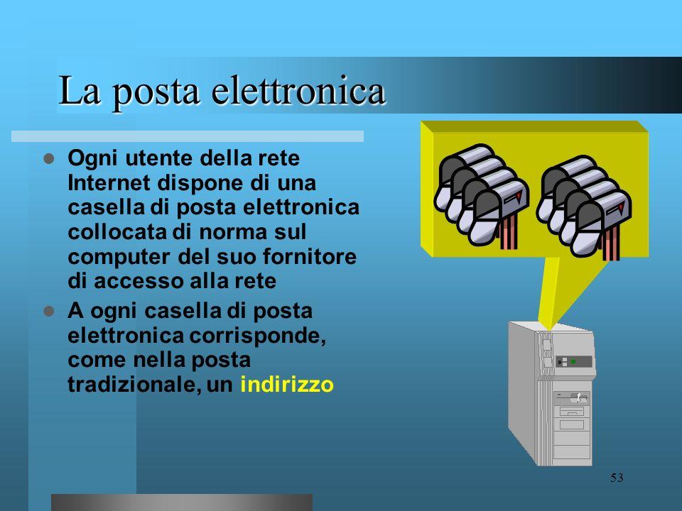 52 La posta elettronica La posta elettronica o e-mail permette ad ogni utente di inviare e ricevere messaggi scritti a e da ogni altro utente di Inter