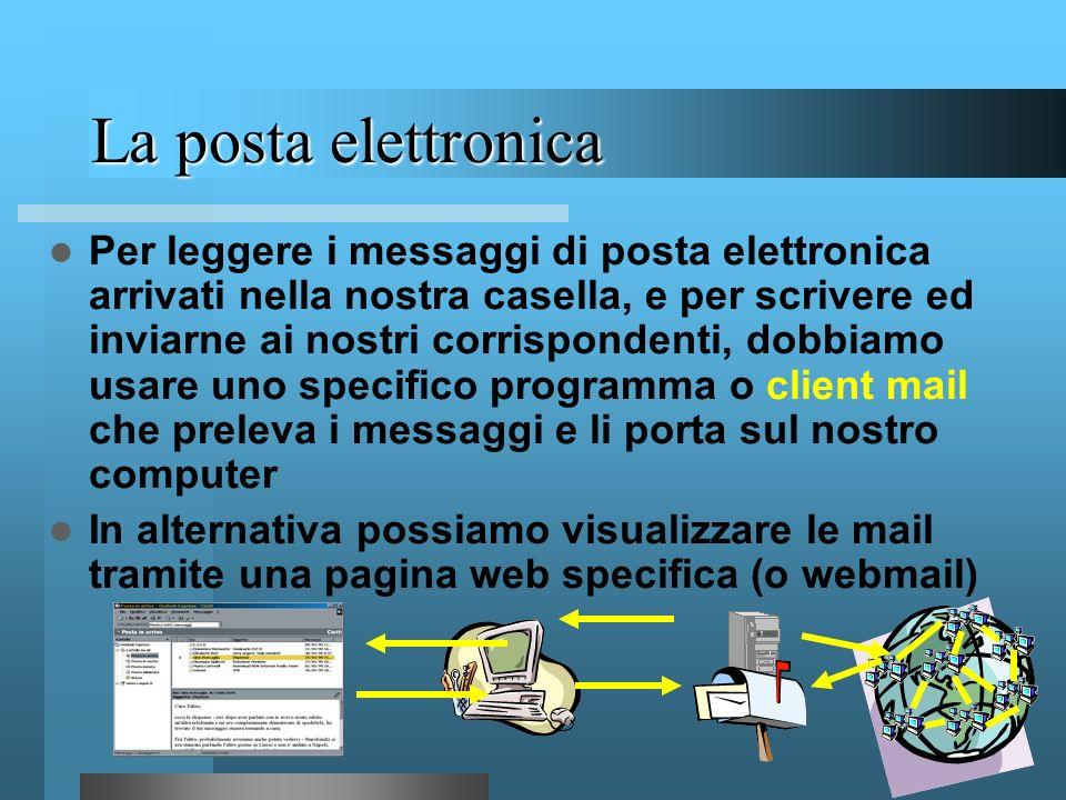 54 La posta elettronica Nome utente Separatore (simbolo a commerciale che si legge at) Nome host che ospita la casella postale dellutente