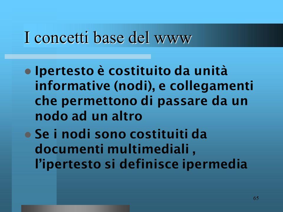 64 I concetti base del www Ipertesto : informazione organizzata in modo non sequenziale ma reticolare Esempio di informazione sequenziale : libro in c