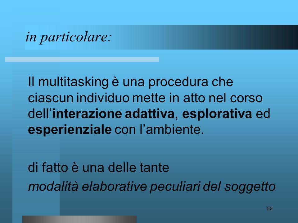 67 una prima definizione: Il multitasking è una delle tante procedure che attiene alla gestione dei processi di conoscenza e di apprendimento