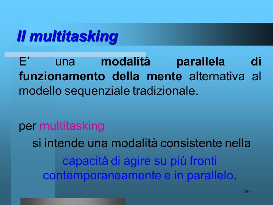 68 in particolare: Il multitasking è una procedura che ciascun individuo mette in atto nel corso dellinterazione adattiva, esplorativa ed esperienzial