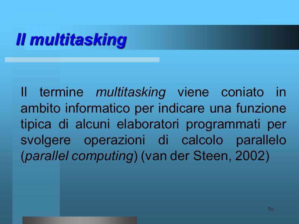 69 Il multitasking E una modalità parallela di funzionamento della mente alternativa al modello sequenziale tradizionale. per multitasking si intende