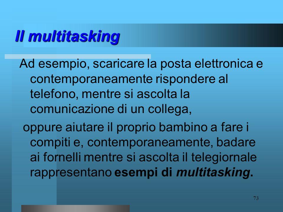 72 Il multitasking Recentemente, il termine ha trovato impiego anche in campo neurofisiologico e neuropsicologico per descrivere la capacità della men