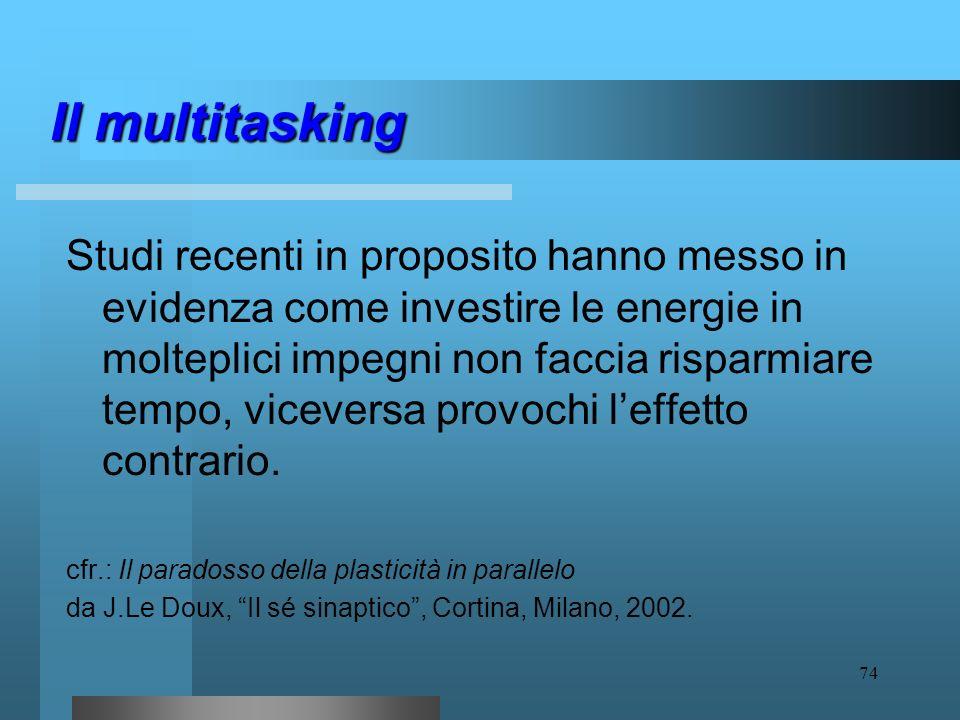 73 Il multitasking Ad esempio, scaricare la posta elettronica e contemporaneamente rispondere al telefono, mentre si ascolta la comunicazione di un co