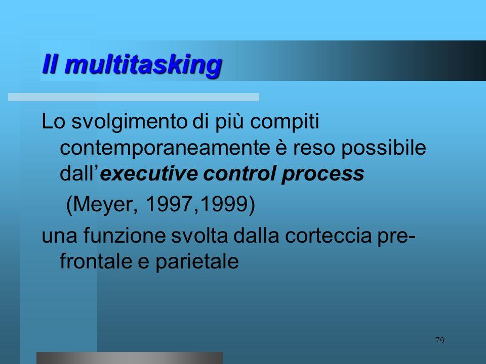 78 Il multitasking Mentre esistono azioni complesse (es. guidare, parlare al cellulare e individuare il nome di una strada) che, se svolte in parallel