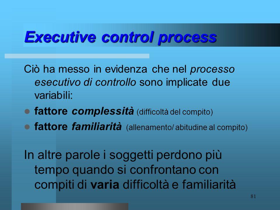 80 Executive control process Per meglio comprendere lexecutive control process, Rubinstein, Meyer e Evans (2001) hanno studiato i patterns di tempo pe