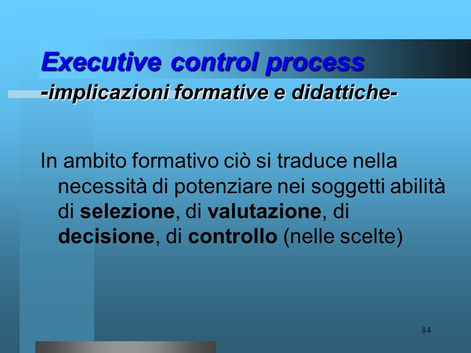 83 Executive control process I risultati delle ricerche rendono evidente che lexecutive control process implica due fasi: attribuzione di priorità goa