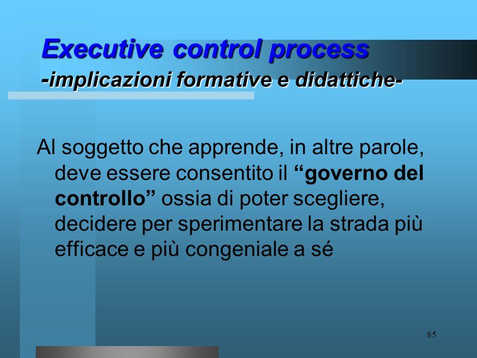 84 Executive control process - implicazioni formative e didattiche- In ambito formativo ciò si traduce nella necessità di potenziare nei soggetti abil