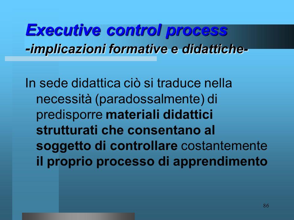85 Executive control process - implicazioni formative e didattiche- Al soggetto che apprende, in altre parole, deve essere consentito il governo del c