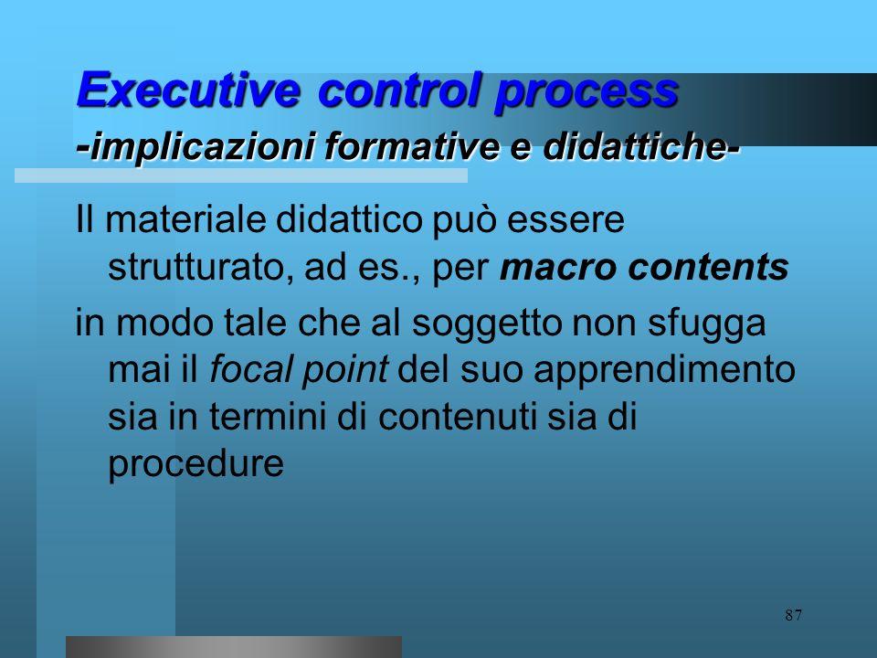 86 Executive control process - implicazioni formative e didattiche- In sede didattica ciò si traduce nella necessità (paradossalmente) di predisporre