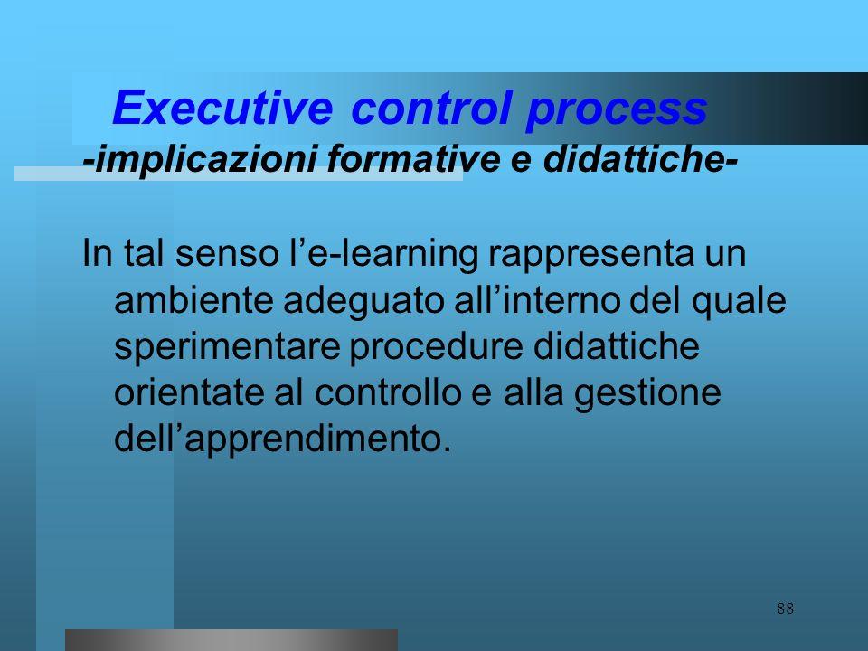 87 Executive control process - implicazioni formative e didattiche- Il materiale didattico può essere strutturato, ad es., per macro contents in modo