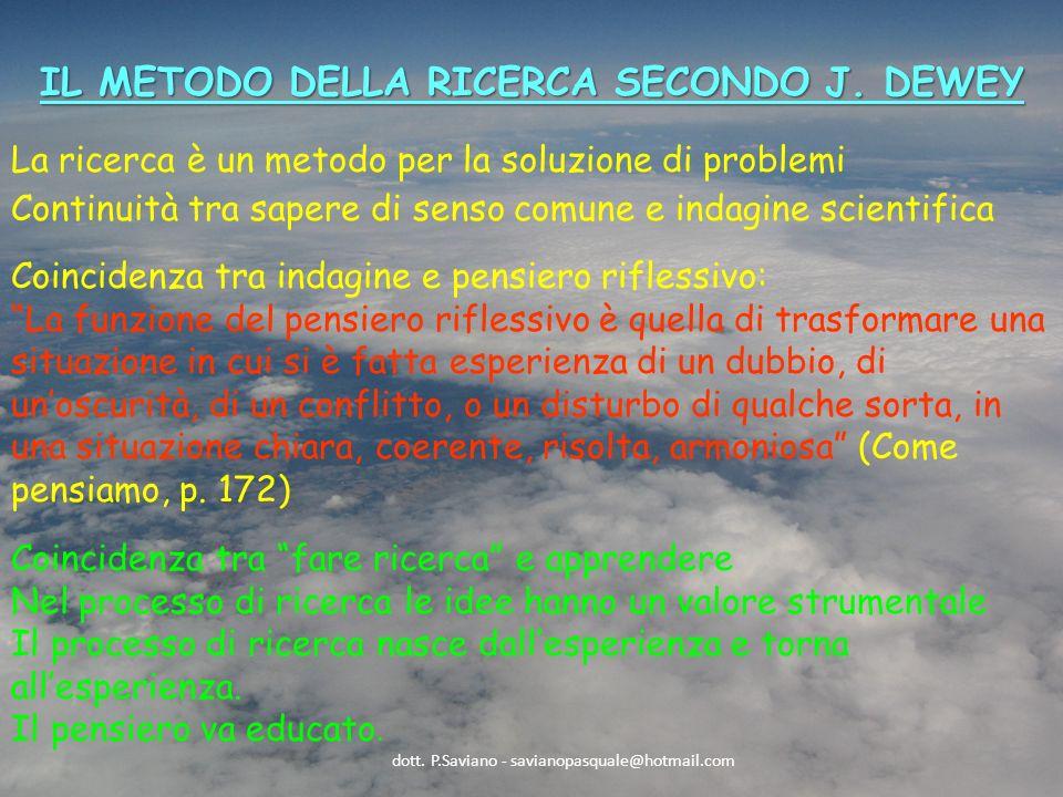 IL METODO DELLA RICERCA SECONDO J.