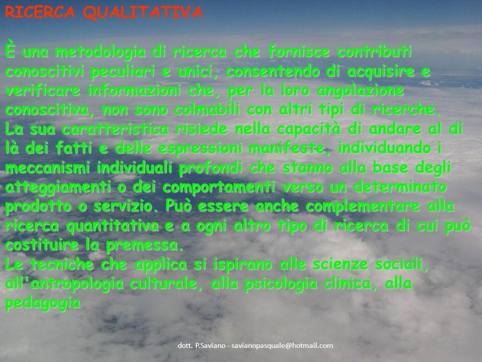 RICERCA QUALITATIVA È una metodologia di ricerca che fornisce contributi conoscitivi peculiari e unici, consentendo di acquisire e verificare informazioni che, per la loro angolazione conoscitiva, non sono colmabili con altri tipi di ricerche.
