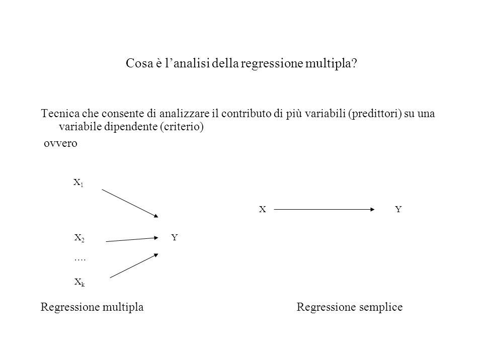 Cosa è lanalisi della regressione multipla? Tecnica che consente di analizzare il contributo di più variabili (predittori) su una variabile dipendente
