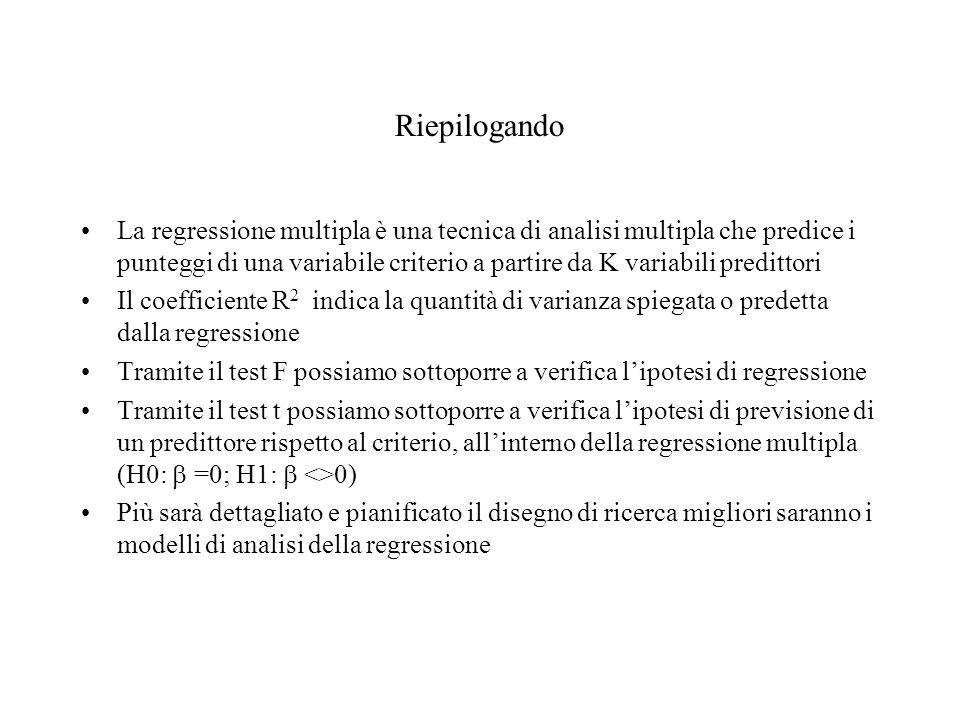 Riepilogando La regressione multipla è una tecnica di analisi multipla che predice i punteggi di una variabile criterio a partire da K variabili predi