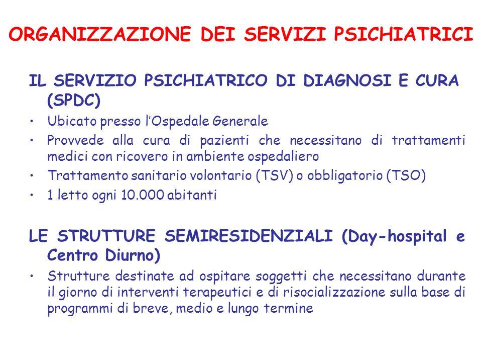 ORGANIZZAZIONE DEI SERVIZI PSICHIATRICI IL SERVIZIO PSICHIATRICO DI DIAGNOSI E CURA (SPDC) Ubicato presso lOspedale Generale Provvede alla cura di paz