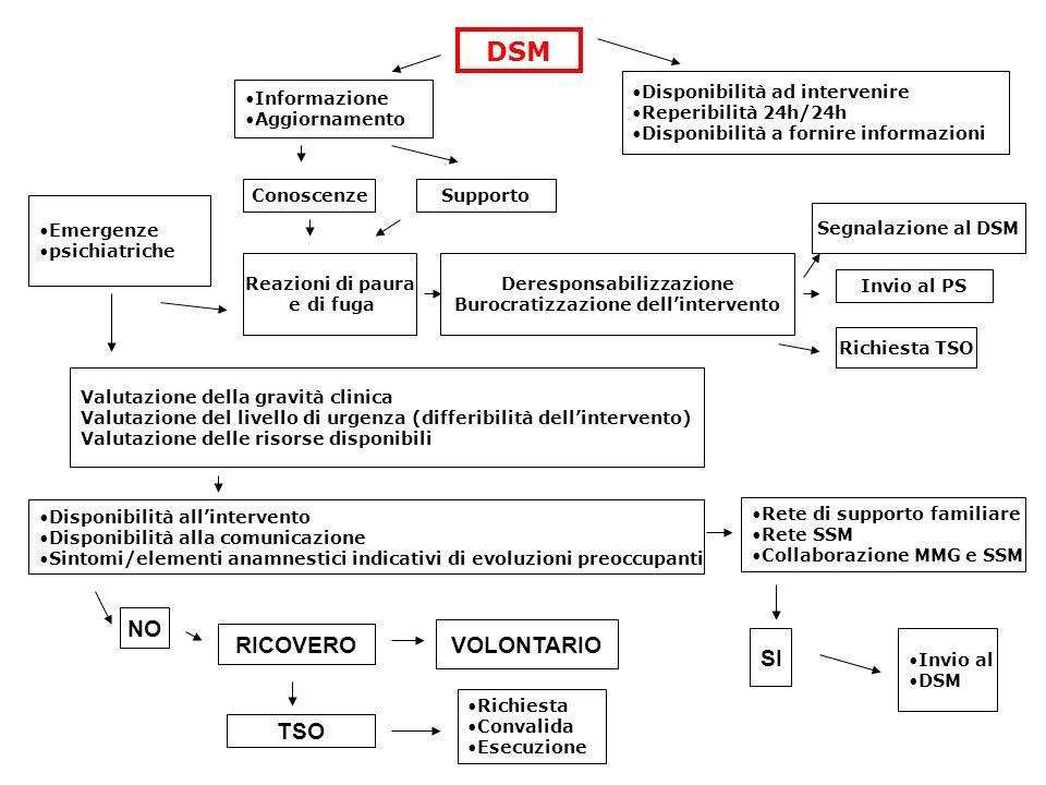 Emergenze psichiatriche DSM Informazione Aggiornamento ConoscenzeSupporto Disponibilità ad intervenire Reperibilità 24h/24h Disponibilità a fornire in