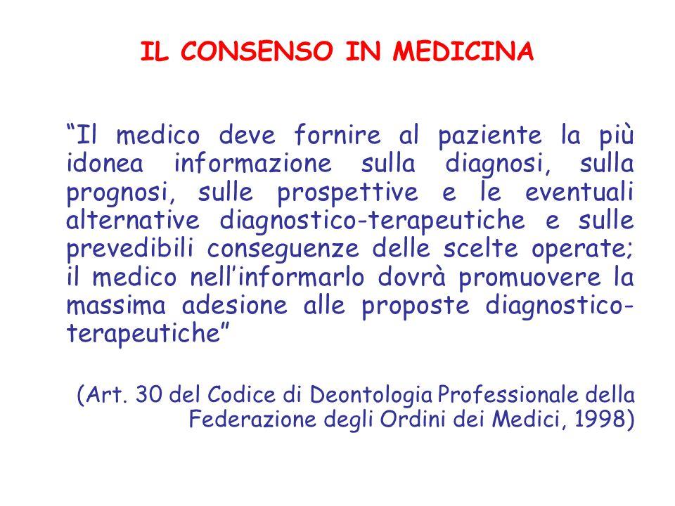 IL CONSENSO IN MEDICINA Il medico deve fornire al paziente la più idonea informazione sulla diagnosi, sulla prognosi, sulle prospettive e le eventuali