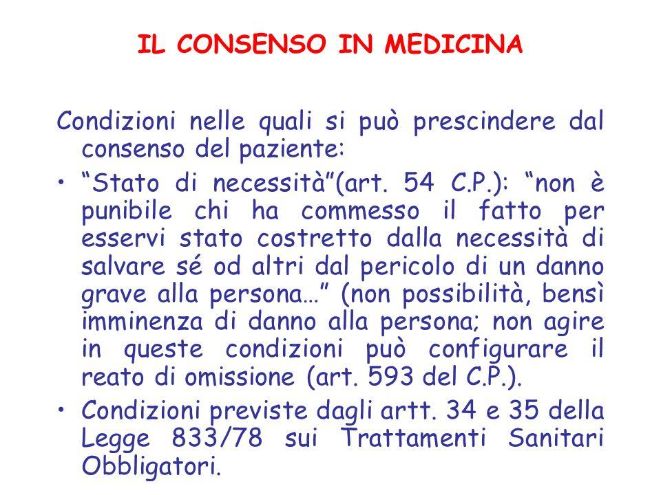 IL CONSENSO IN MEDICINA Condizioni nelle quali si può prescindere dal consenso del paziente: Stato di necessità(art. 54 C.P.): non è punibile chi ha c