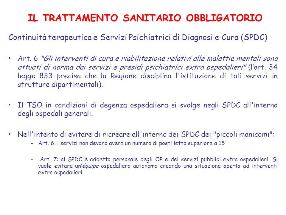 IL TRATTAMENTO SANITARIO OBBLIGATORIO Continuità terapeutica e Servizi Psichiatrici di Diagnosi e Cura (SPDC) Art. 6