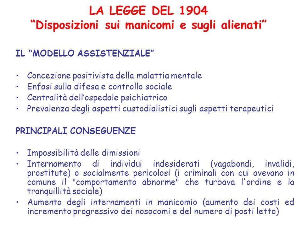 LA LEGGE DEL 1904 Disposizioni sui manicomi e sugli alienati IL MODELLO ASSISTENZIALE Concezione positivista della malattia mentale Enfasi sulla difes