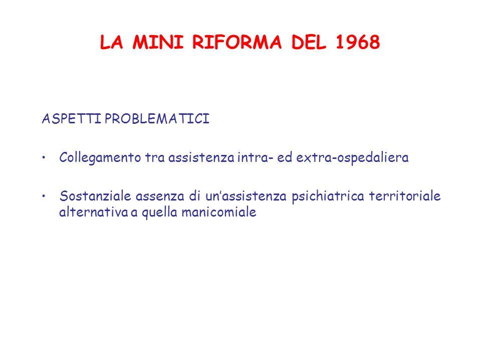 LA MINI RIFORMA DEL 1968 ASPETTI PROBLEMATICI Collegamento tra assistenza intra- ed extra-ospedaliera Sostanziale assenza di unassistenza psichiatrica