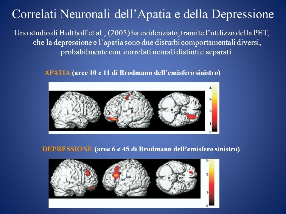 Uno studio di Holthoff et al., (2005) ha evidenziato, tramite lutilizzo della PET, che la depressione e lapatia sono due disturbi comportamentali dive