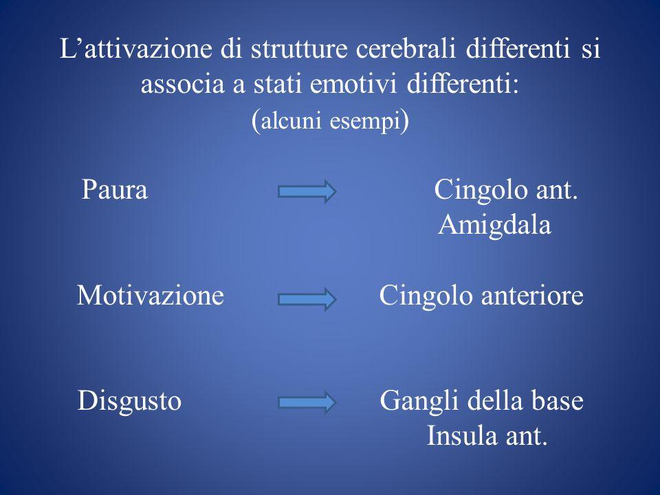 Lattivazione di strutture cerebrali differenti si associa a stati emotivi differenti: ( alcuni esempi ) Paura Cingolo ant. Amigdala Motivazione Cingol