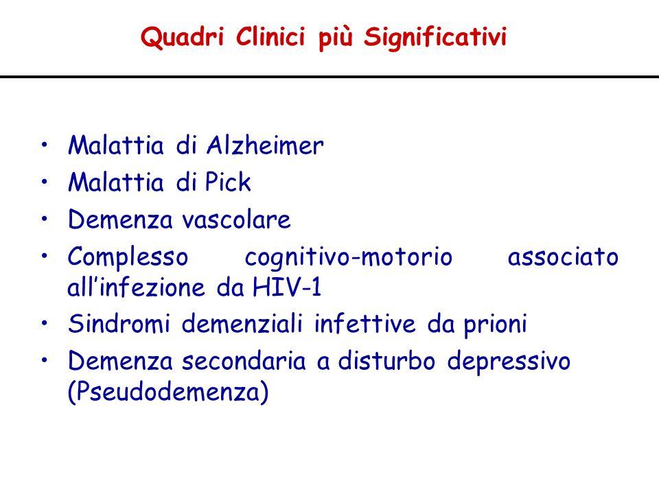 Quadri Clinici più Significativi Malattia di Alzheimer Malattia di Pick Demenza vascolare Complesso cognitivo-motorio associato allinfezione da HIV-1